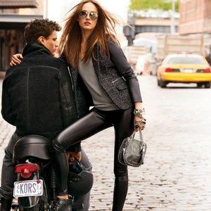 Michael Michael Kors Tweed & Faux Leather Blazer